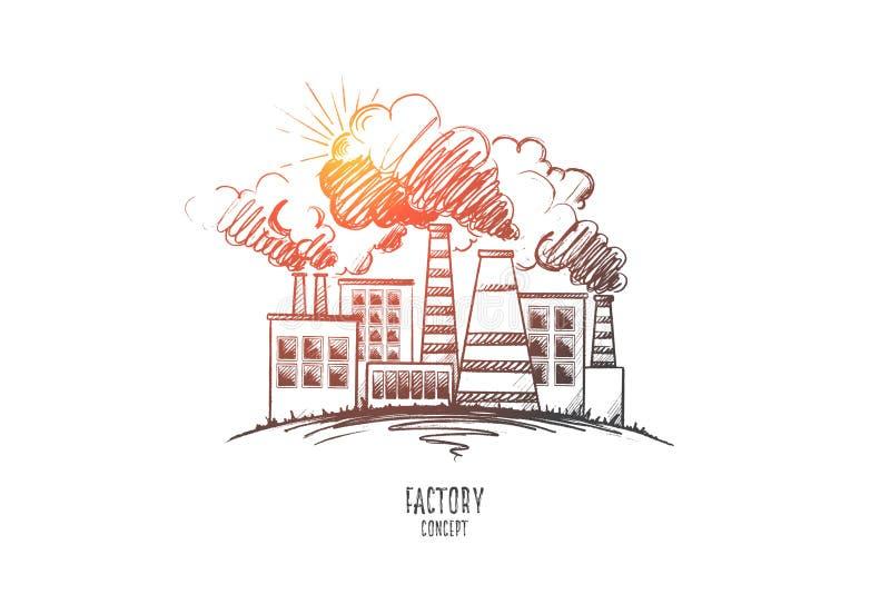 Concetto della fabbrica Vettore isolato disegnato a mano illustrazione vettoriale