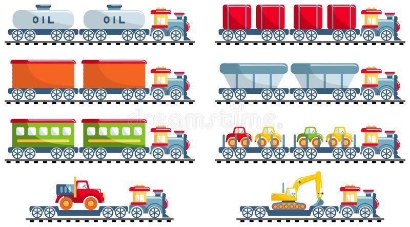 Concetto della ferrovia Metta dei giocattoli ferroviari differenti nello stile piano del fumetto su fondo bianco: treno, locomoti illustrazione vettoriale