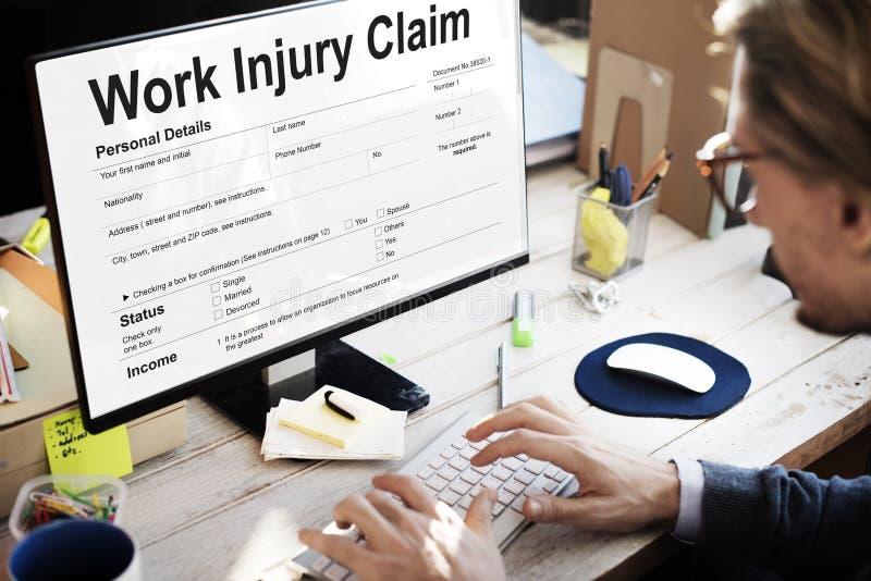 Concetto della forma di reclamo della compensazione di lesione di lavoro fotografia stock
