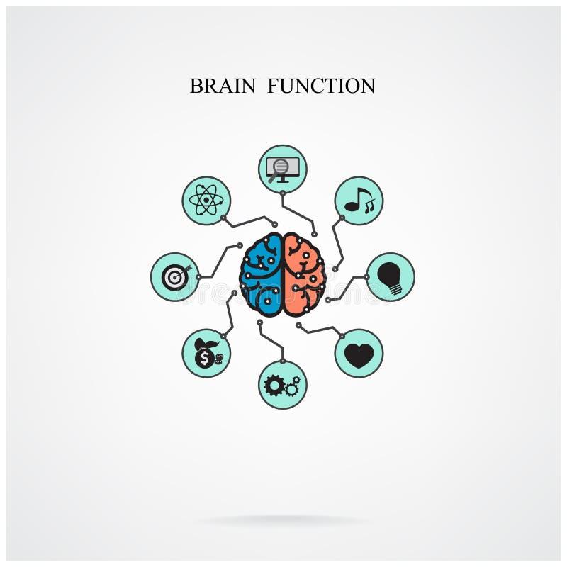 Concetto della funzione del cervello per istruzione e scienza, si di affari illustrazione di stock
