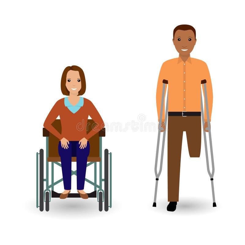 Concetto della gente di inabilità Donna invalida in sedia a rotelle ed in uomo disabile con le grucce isolate su un fondo bianco illustrazione vettoriale