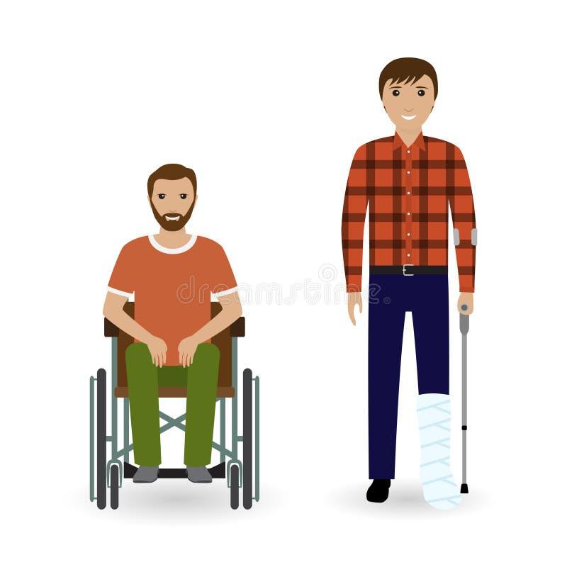 Concetto della gente di inabilità Due uomini invalidi con le gambe disabili su un fondo bianco illustrazione di stock