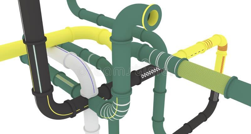 Concetto della gestione, costruzione del tubo, simbolizzando le comunicazioni possibili ed unobvious illustrazione di stock