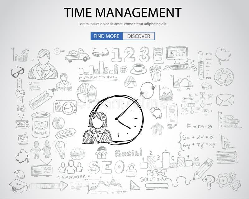 Concetto della gestione di tempo con stile di progettazione di scarabocchio royalty illustrazione gratis