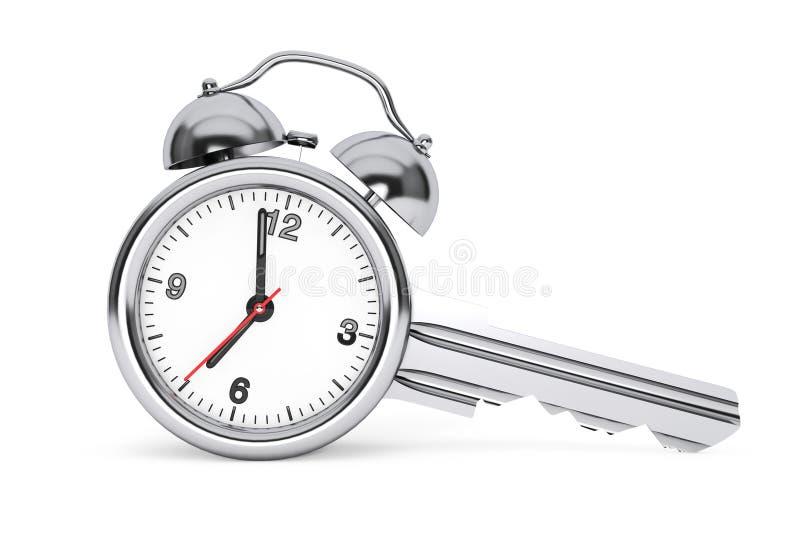 Concetto della gestione di tempo Sveglia come chiave rappresentazione 3d illustrazione di stock