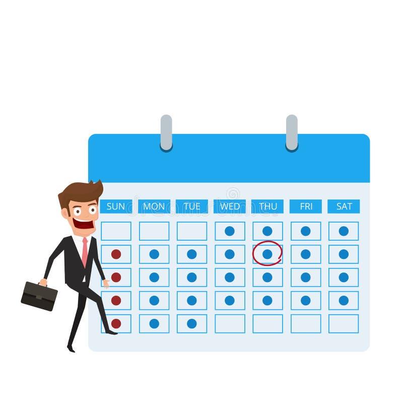 Concetto della gestione e di pianificazione di tempo Uomo d'affari con pianificazione e scheduler del segno del cerchio sul calen illustrazione vettoriale