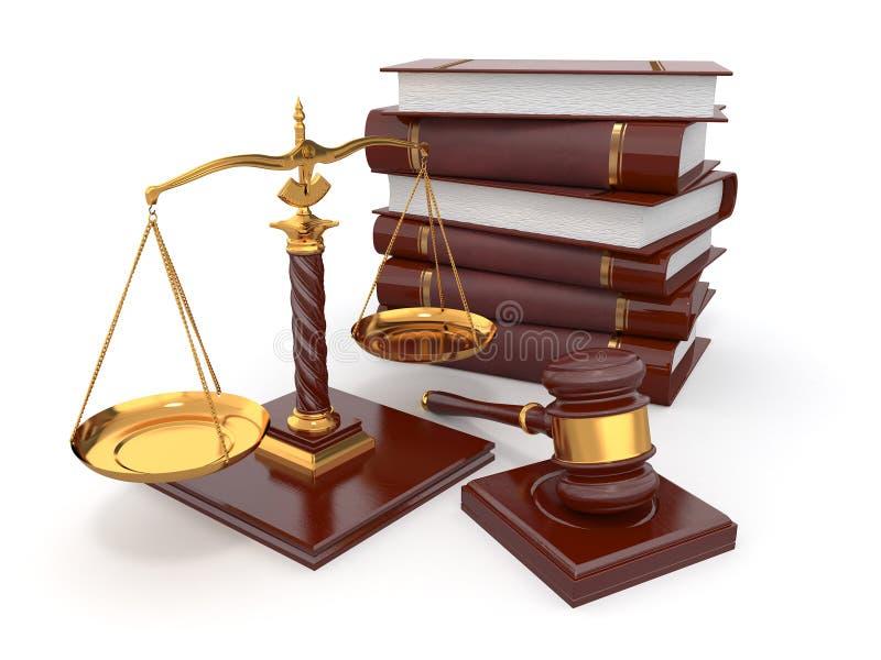 Concetto della giustizia. Legge, scala e martelletto. illustrazione vettoriale