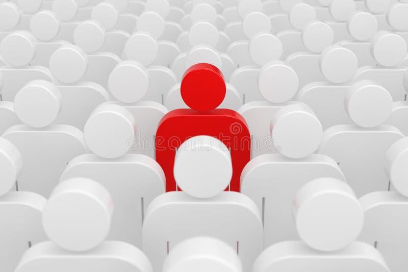 Concetto della guida Una persona dell'uomo rosso in folla della gente normale rappresentazione 3d royalty illustrazione gratis