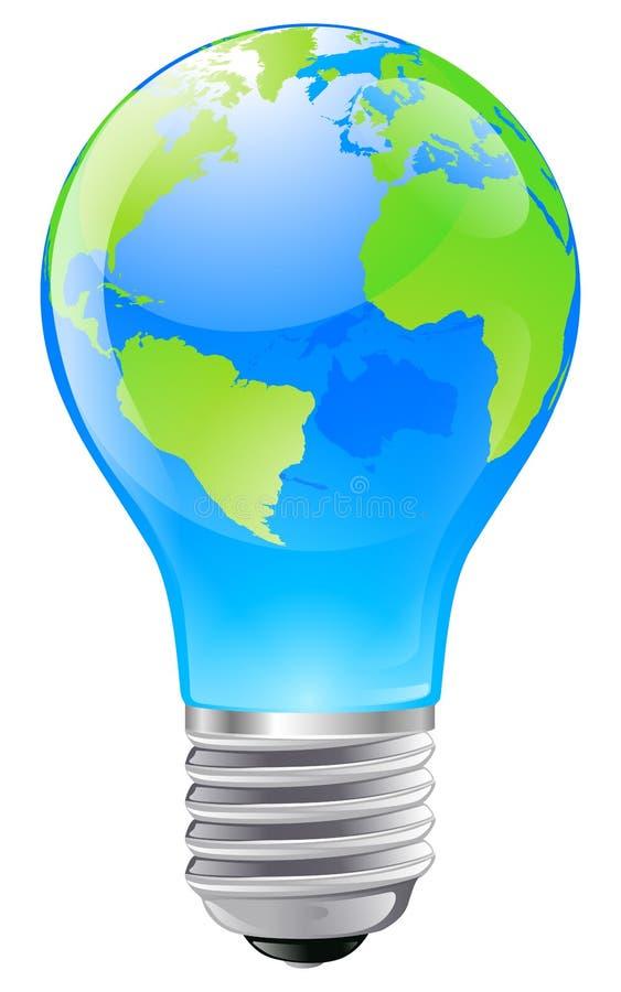 Concetto della lampadina del globo del mondo illustrazione di stock
