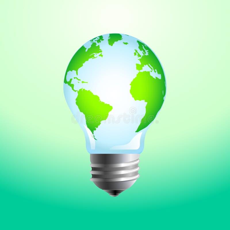 Concetto della lampadina e del pianeta Terra royalty illustrazione gratis