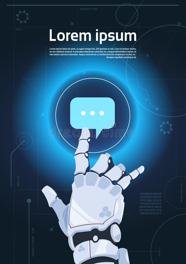 Concetto della mano di tocco di chiacchierata della bolla dell'icona di comunicazione robot dei robot e di intelligenza artificia illustrazione vettoriale