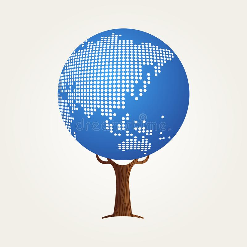 Concetto della mappa di mondo dell'Asia per la comunicazione globale illustrazione vettoriale