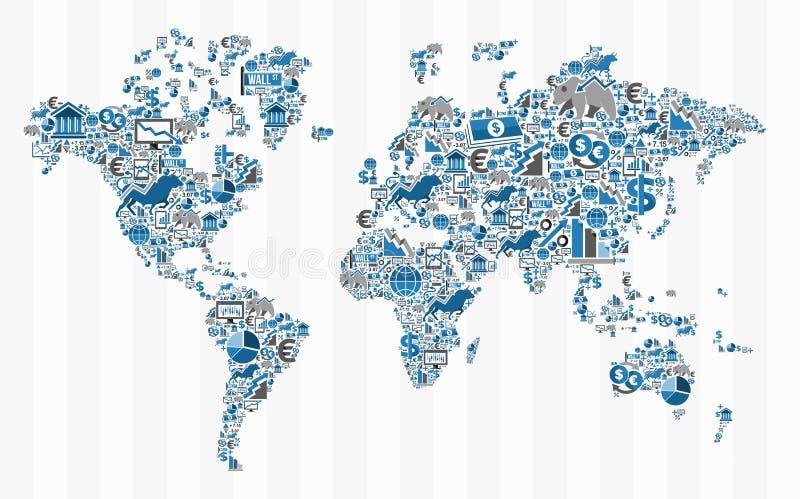 Concetto della mappa di mondo di finanza di borsa valori illustrazione di stock