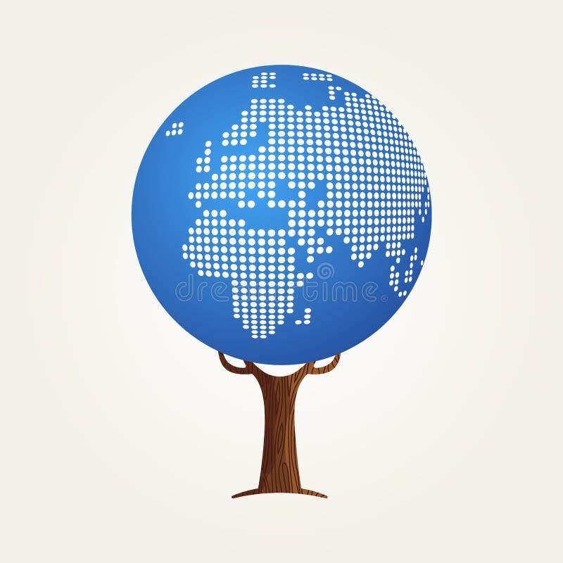 Concetto della mappa di mondo di Europa per la comunicazione globale illustrazione vettoriale