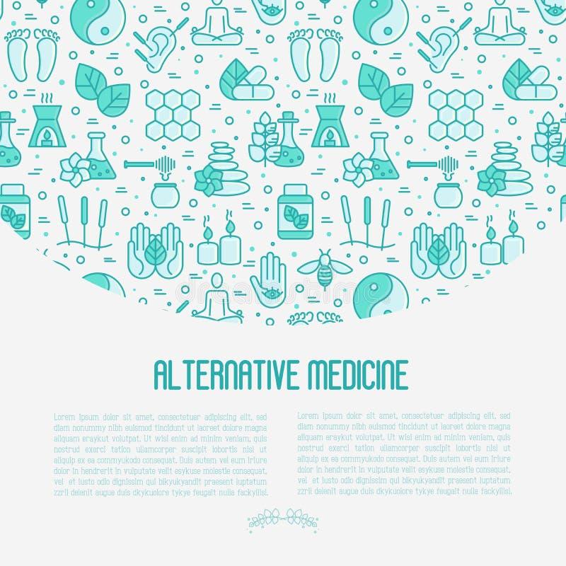 Concetto della medicina alternativa con la linea sottile icone royalty illustrazione gratis