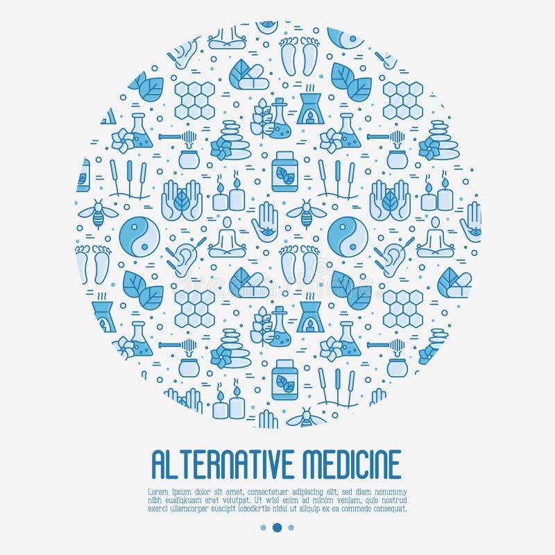 Concetto della medicina alternativa nel cerchio illustrazione di stock