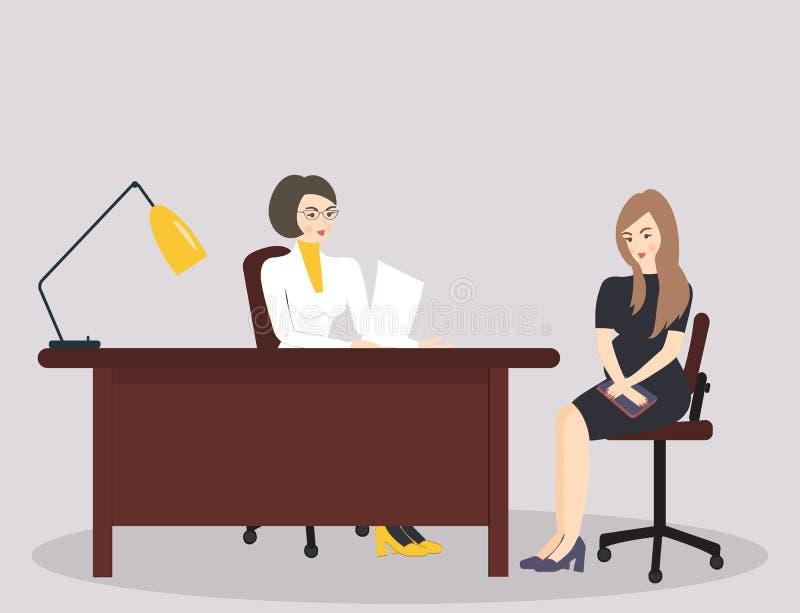 Concetto della medicina: medico e donna incinta graziosi Medico del professionista e paziente femminile incinto sveglio nell'uffi illustrazione vettoriale