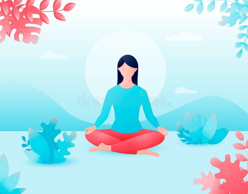 Concetto della meditazione, le indennità-malattia di vettore per il corpo royalty illustrazione gratis