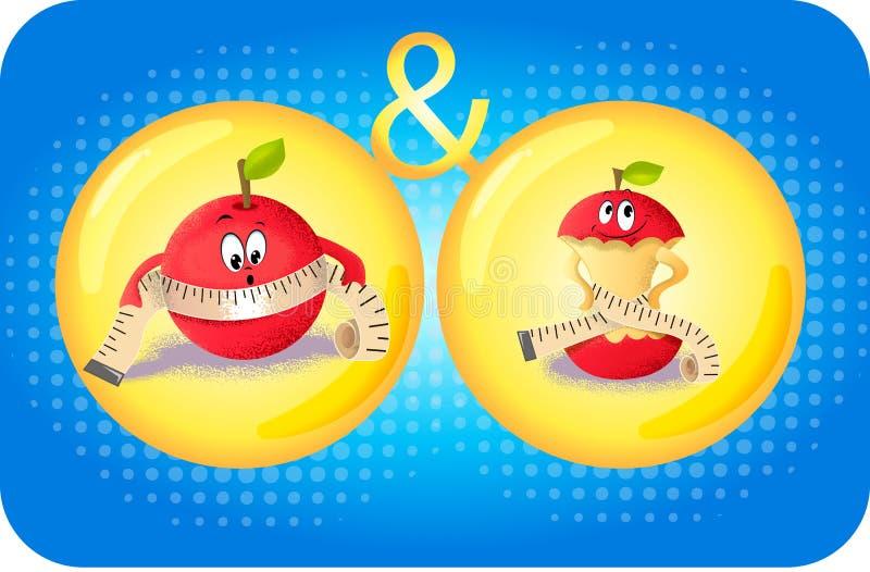 Concetto della mela umana di obesità illustrazione vettoriale