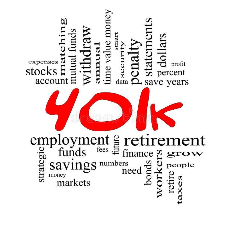 concetto della nube di parola 401k nel colore rosso & nel nero illustrazione di stock
