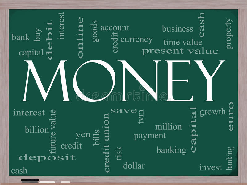 Concetto della nuvola di parola dei soldi su una lavagna illustrazione vettoriale