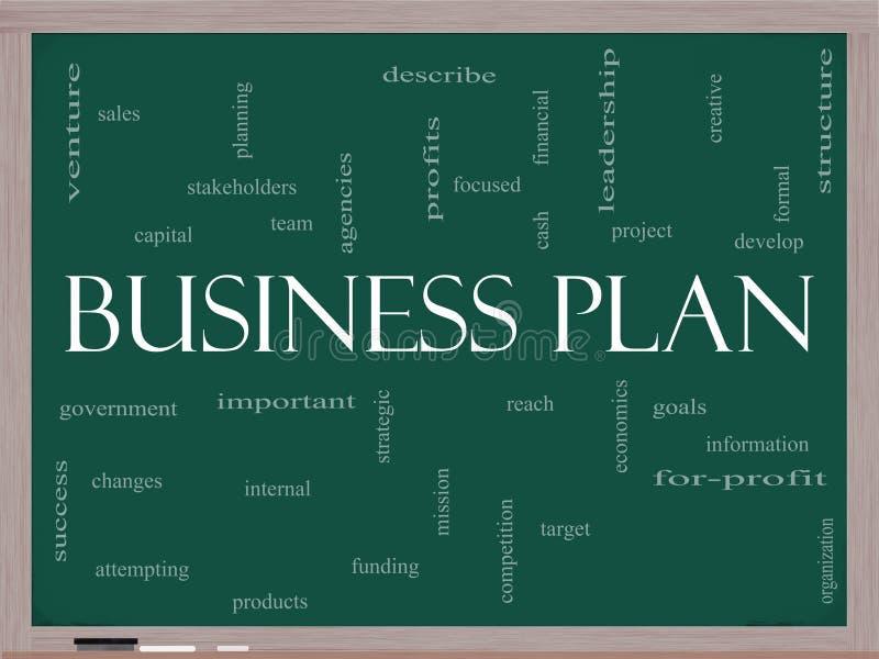 Concetto della nuvola di parola del business plan su una lavagna royalty illustrazione gratis