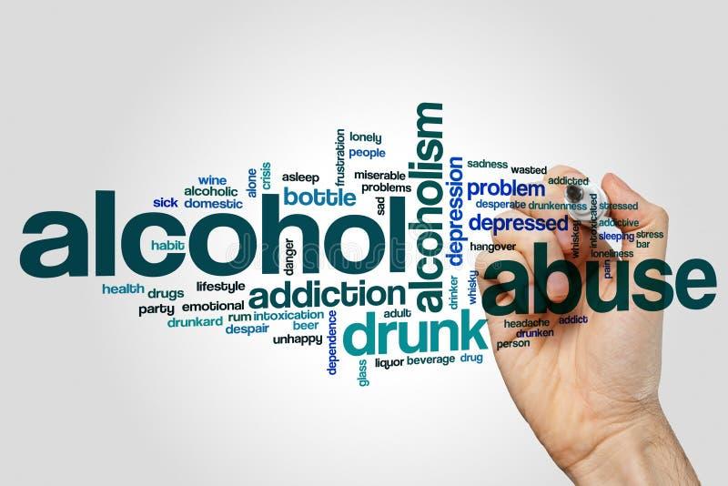 Concetto della nuvola di parola di abuso di alcool su fondo grigio immagini stock libere da diritti