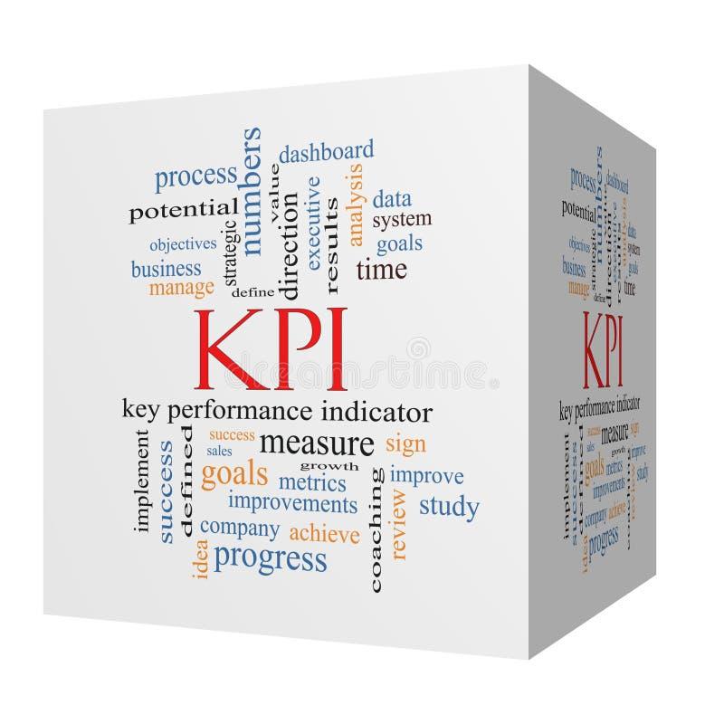 Concetto della nuvola di parola di KPI su un cubo 3D royalty illustrazione gratis