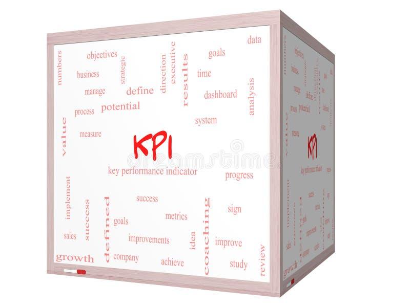 Concetto della nuvola di parola di KPI su una lavagna del cubo 3D illustrazione di stock