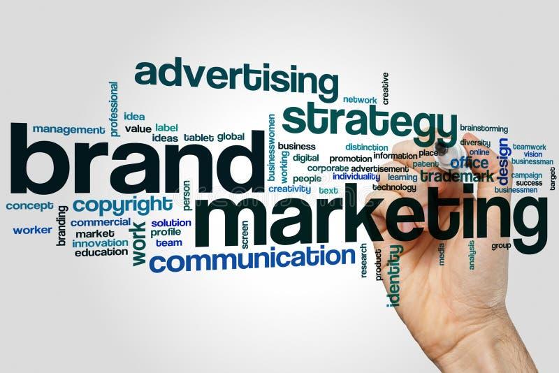 Concetto della nuvola di parola di marketing del marchio su fondo grigio fotografia stock libera da diritti