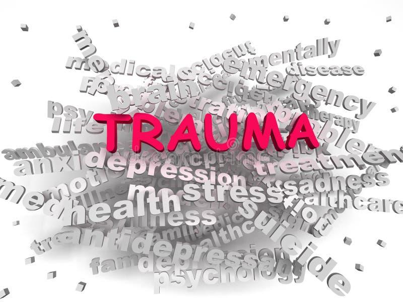 concetto della nuvola di parola di trauma di immagine 3d illustrazione vettoriale