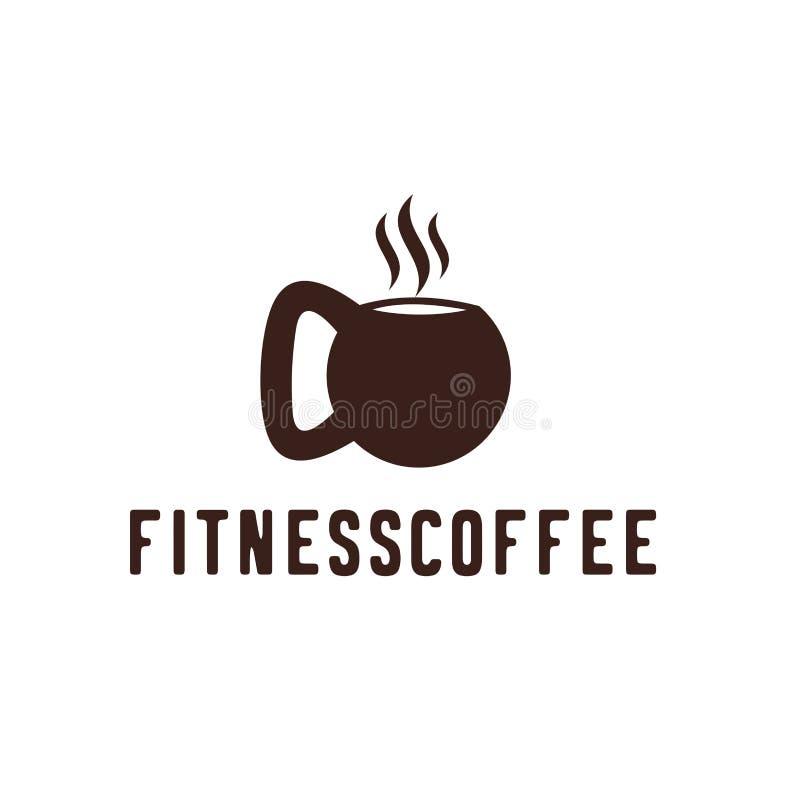 Concetto della palestra di forma fisica del caffè Logo, etichetta, icona o emblema di vettore con la tazza di caffè e la forma de illustrazione di stock