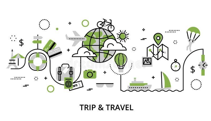 Concetto della pianta di viaggio intorno al mondo illustrazione di stock