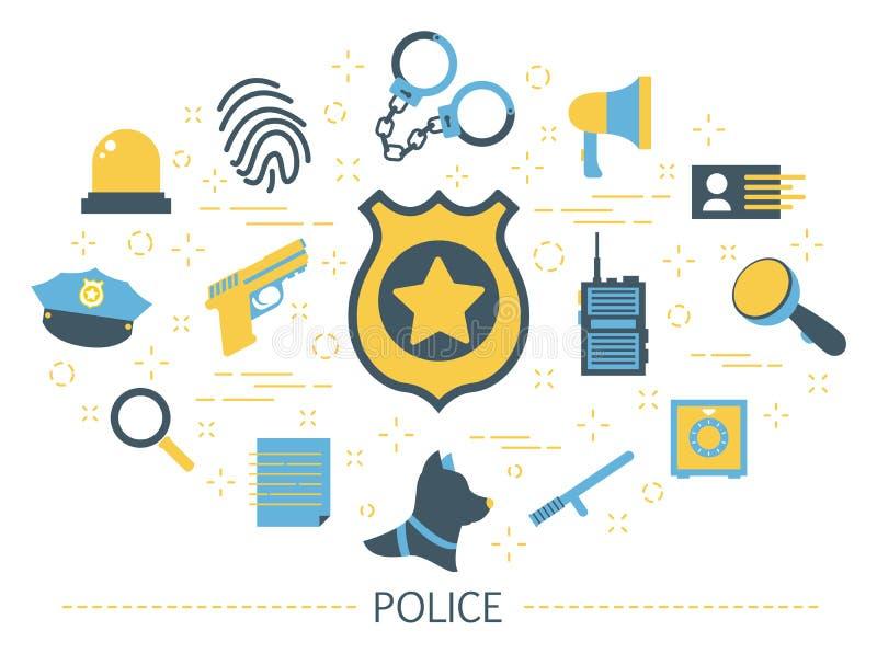 Concetto della polizia Idea del lavoro della guardia legge illustrazione vettoriale