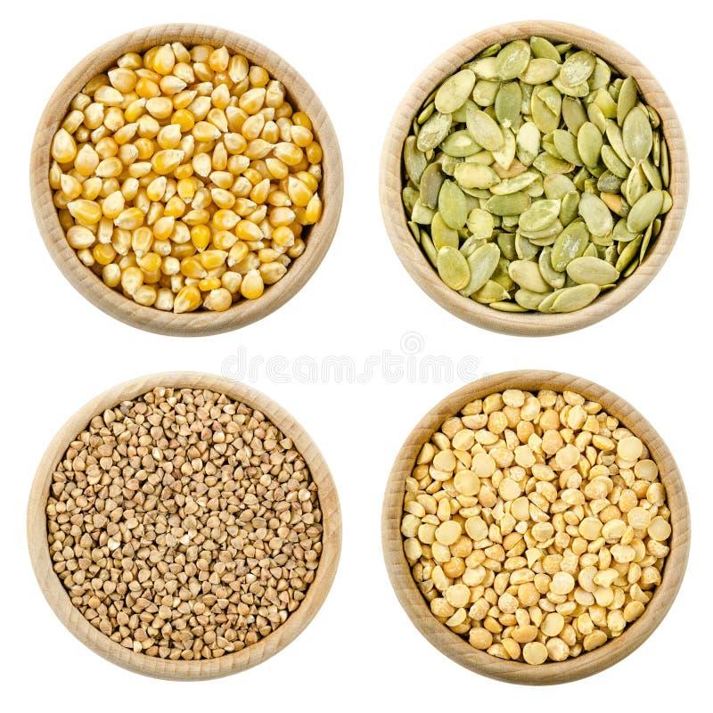 Concetto della proteina, un insieme di quattro ingridients per vita sana massima immagine stock
