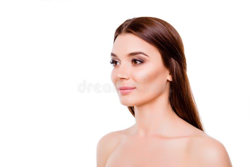 Concetto della pubblicità di bellezza Foto potata di giovane Br splendido fotografie stock libere da diritti