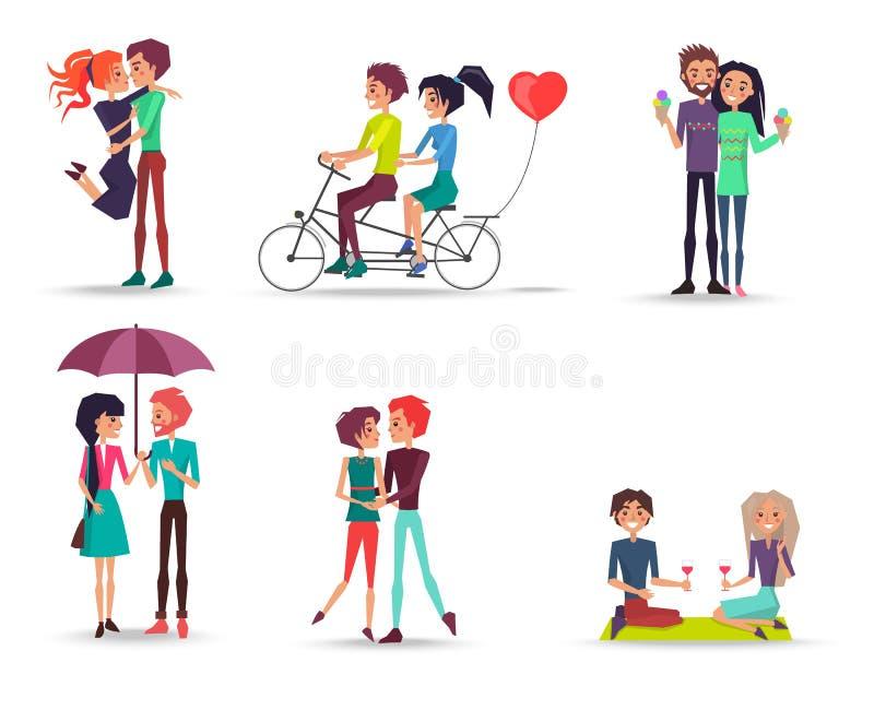 Concetto della ragazza e del ragazzo adorabili felici insieme illustrazione vettoriale
