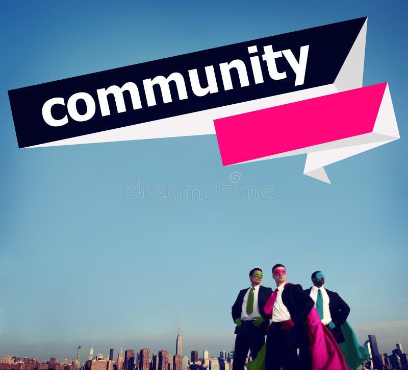 Concetto della rete del gruppo del collegamento del cittadino della Comunità fotografie stock