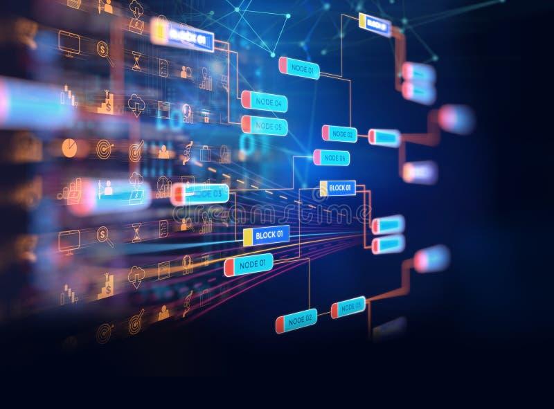 Concetto della rete della catena di blocco sul fondo di tecnologia illustrazione di stock