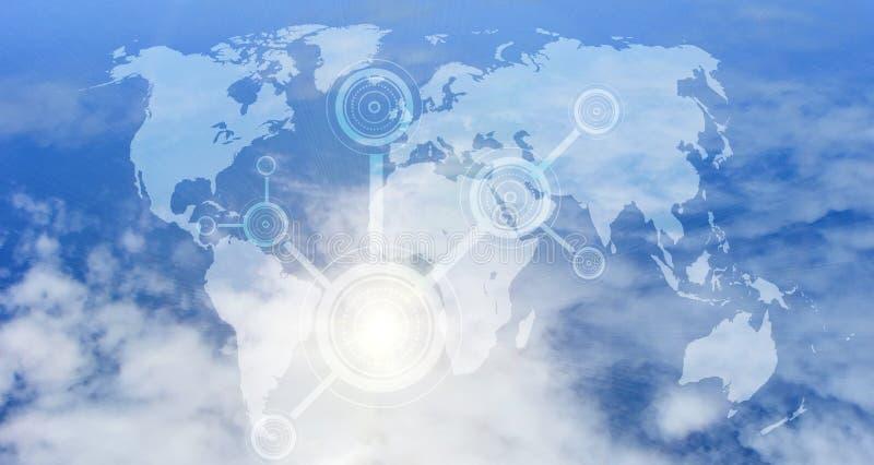 Concetto della rete di computazione della nube Protezione dei dati Concetto cyber globale di sicurezza della rete dello spazio illustrazione vettoriale