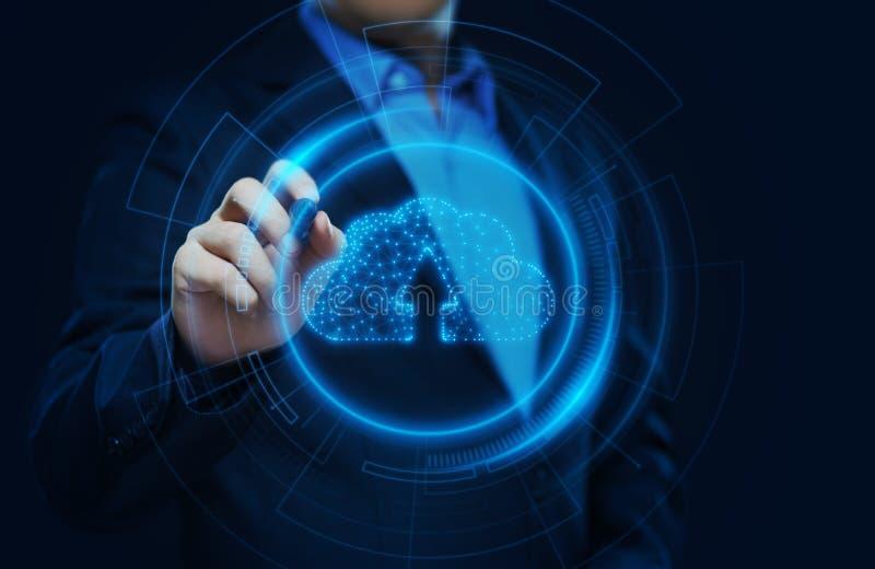 Concetto della rete di stoccaggio di Internet di tecnologia di computazione della nuvola royalty illustrazione gratis