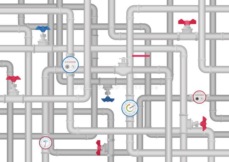 Concetto della rete di tubazioni degli articoli del tubo di Slumbing illustrazione di stock