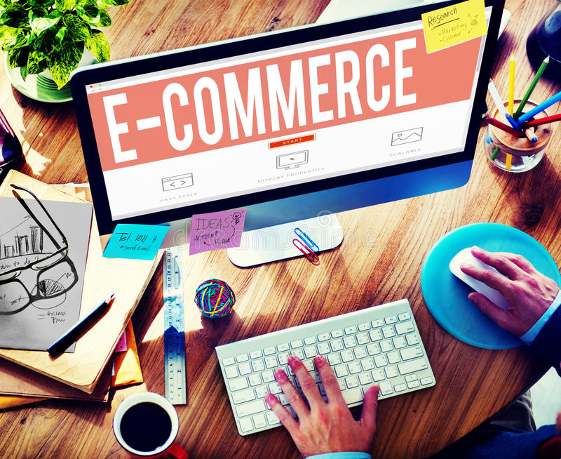 Concetto della rete di vendita di Digital di commercio elettronico immagine stock