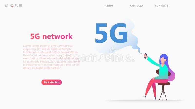 concetto della rete 5G Il personaggio dei cartoni animati usa velocemente il lte mobile di Internet royalty illustrazione gratis