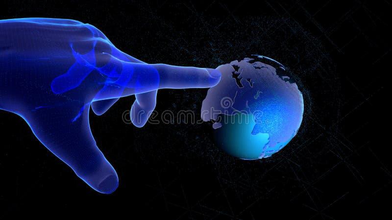Concetto della rete globale o della tecnologia della comunicazione, mano futuristica che indica sul globo del wireframe illustraz illustrazione vettoriale