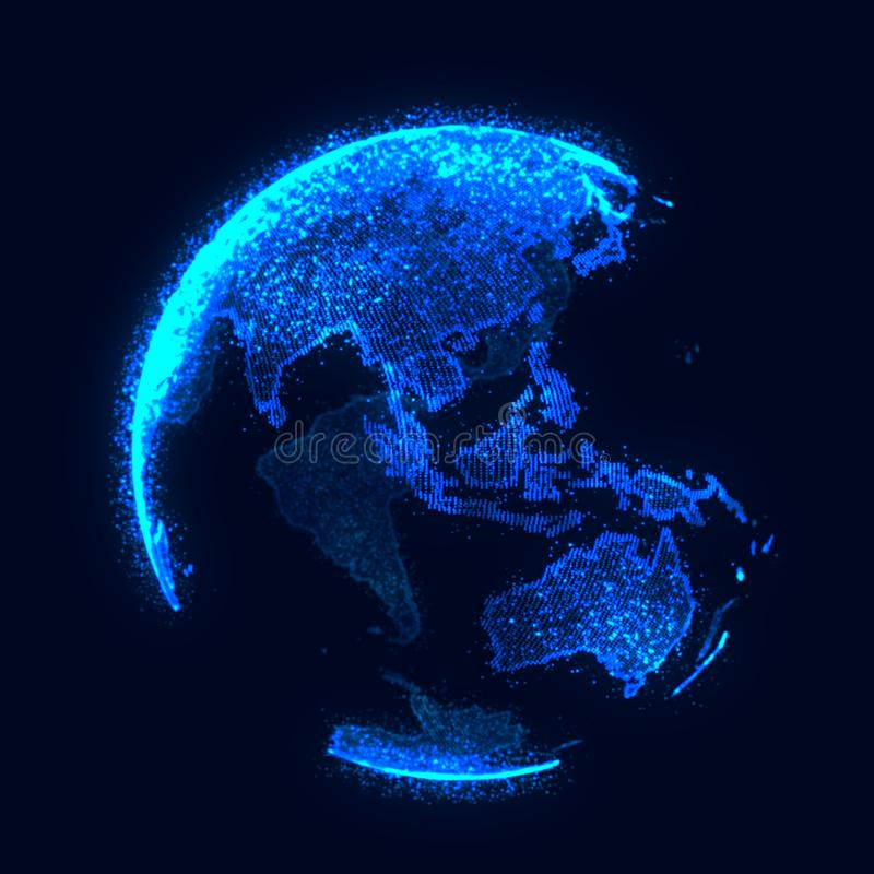 Concetto della rete globale Punto della mappa di mondo Pianeta Terra della rete globale rappresentazione 3d illustrazione vettoriale