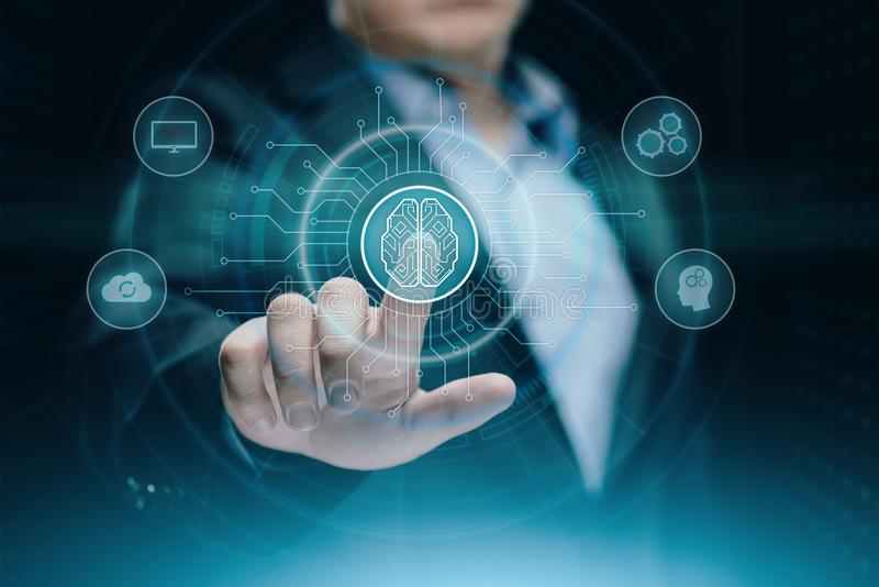 Concetto della rete internet di tecnologia di affari di apprendimento automatico di AI di intelligenza di Digital Brain Artificia fotografie stock