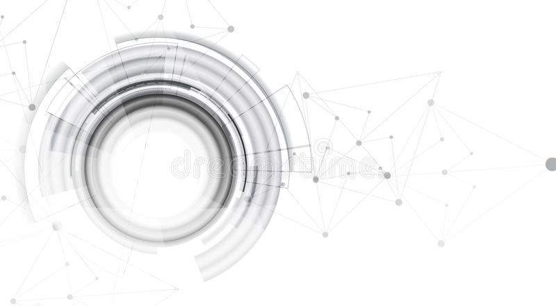 Concetto della rete neurale Cellule collegate con i collegamenti Alto technol illustrazione di stock