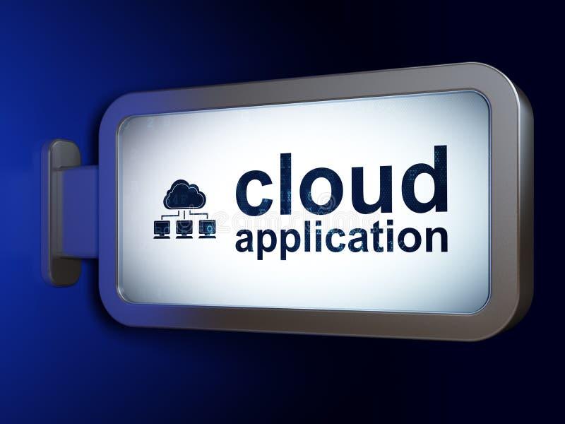 Concetto della rete della nuvola: Appanni l'applicazione ed appanni la rete sul fondo del tabellone per le affissioni illustrazione vettoriale
