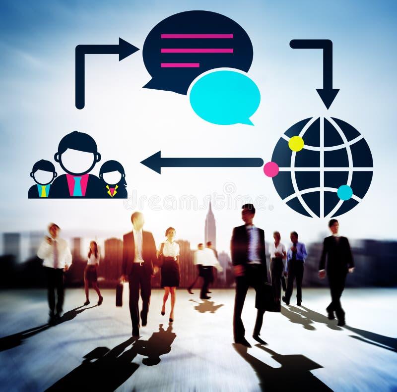 Concetto della rete sociale del collegamento delle comunicazioni globali immagini stock